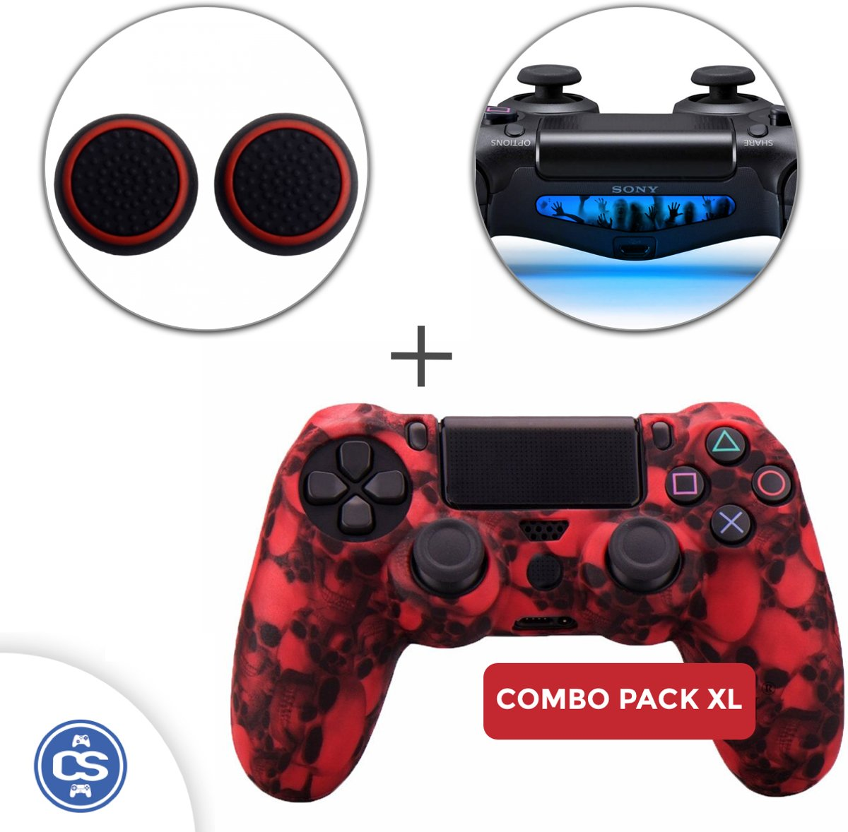 Skulls Rood Siliconen Beschermhoes + Thumb Grips + Lightbar Skin voor PS4 Dualshock PlayStation 4 Controller - Softcover Hoes / Case