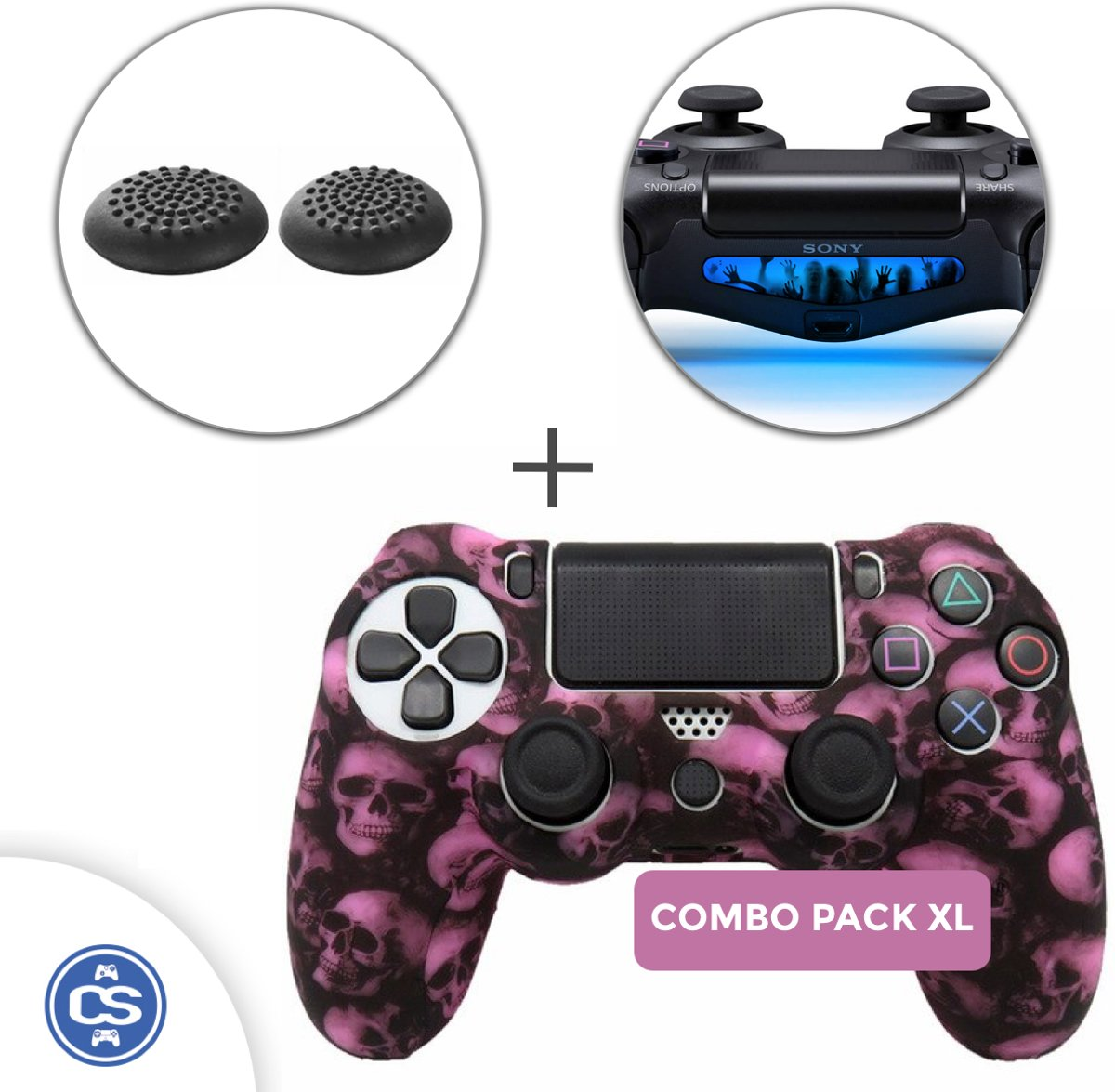 Skulls Roze Siliconen Beschermhoes + Thumb Grips + Lightbar Skin voor PS4 Dualshock PlayStation 4 Controller - Softcover Hoes / Case