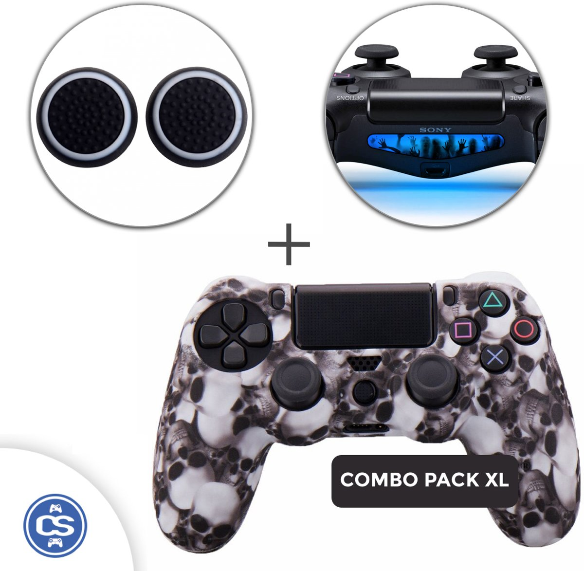 Skulls Wit Siliconen Beschermhoes + Thumb Grips + Lightbar Skin voor PS4 Dualshock PlayStation 4 Controller - Softcover Hoes / Case