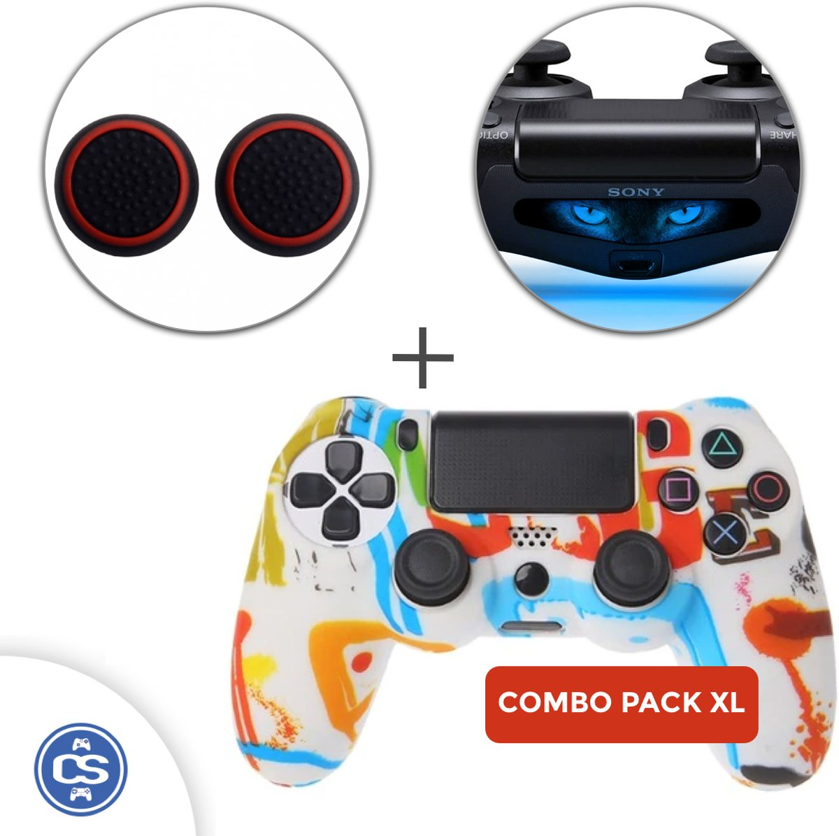 Splash Siliconen Beschermhoes + Thumb Grips + Lightbar Skin voor PS4 Dualshock PlayStation 4 Controller - Softcover Hoes / Case
