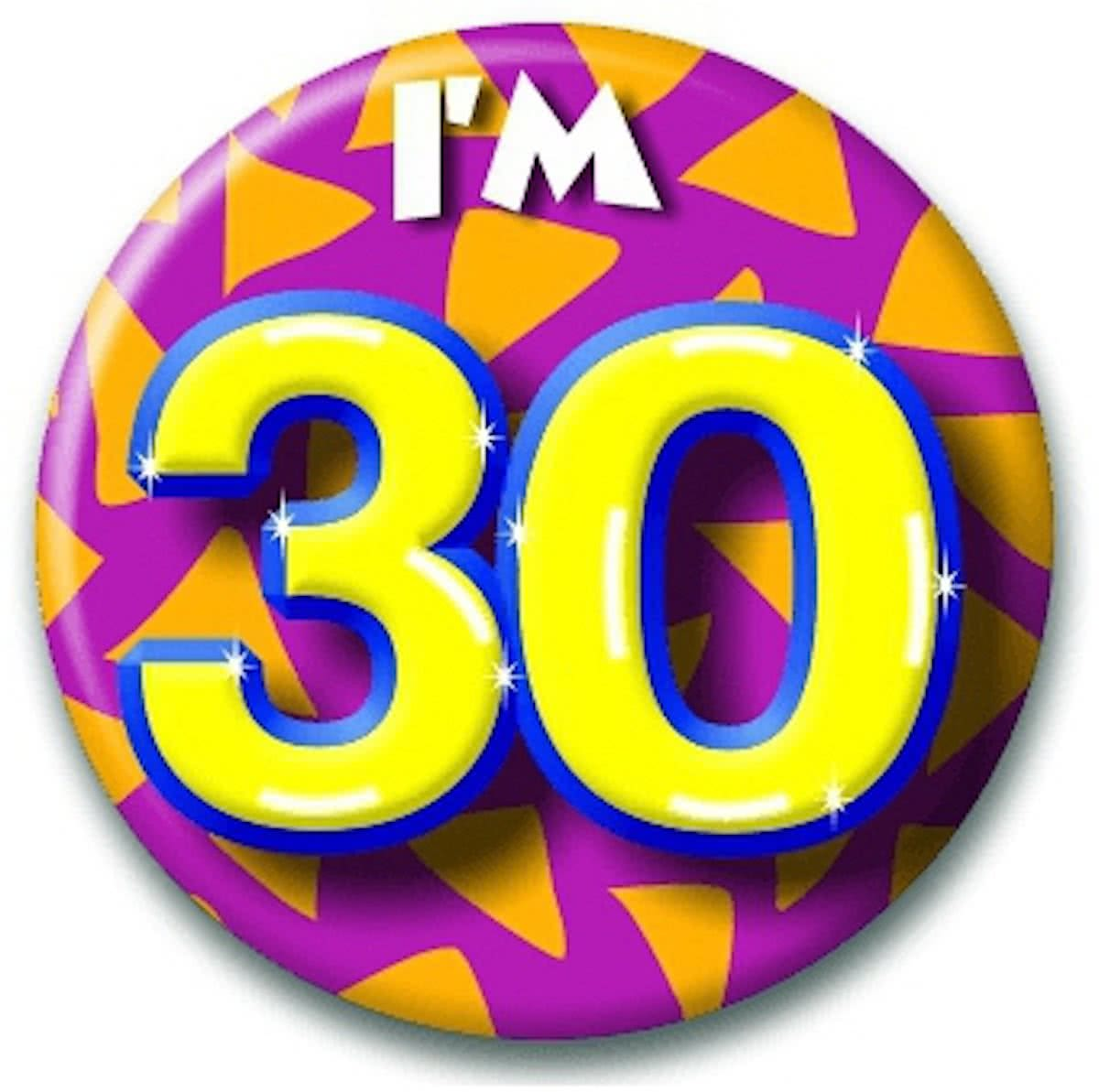 Verjaardags button I am 30