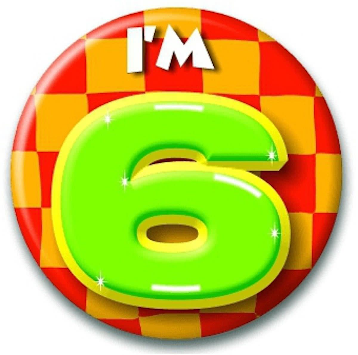 Verjaardags button I am 6