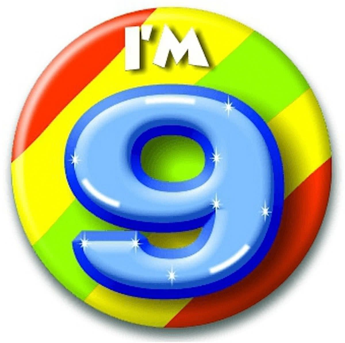 Verjaardags button I am 9