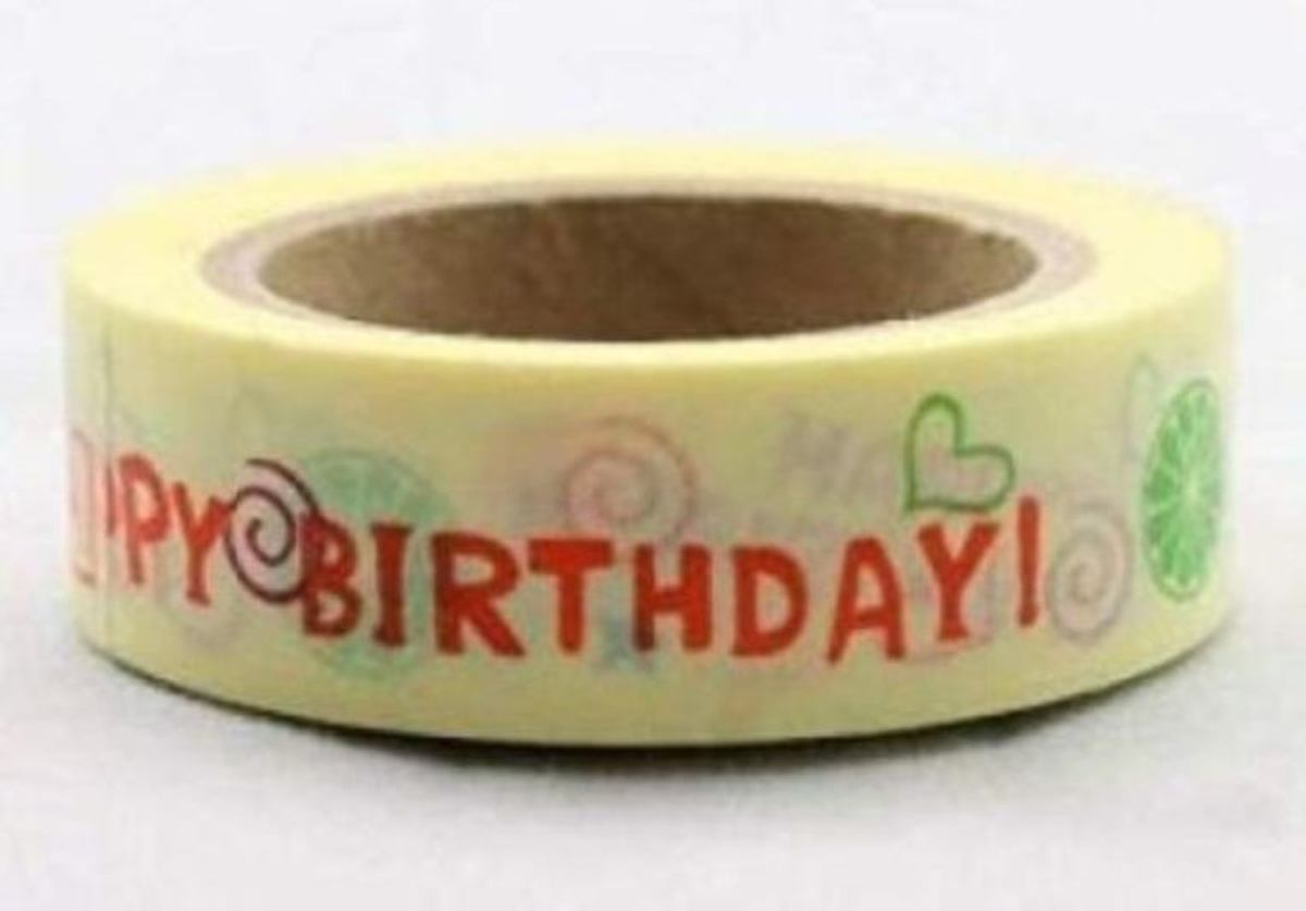 Washi tape Happy Birthday 10 meter per rol Masking tape Verjaardag