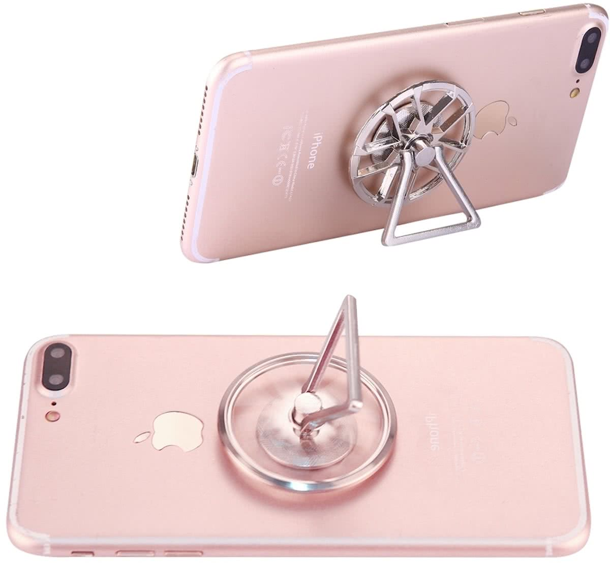 Wheel Shape Phone Triangle houder   Spinner Toy Stress rooducer Anti-Anxiety Toy, About 0.5 Minutes Rotation Time(zilver)
