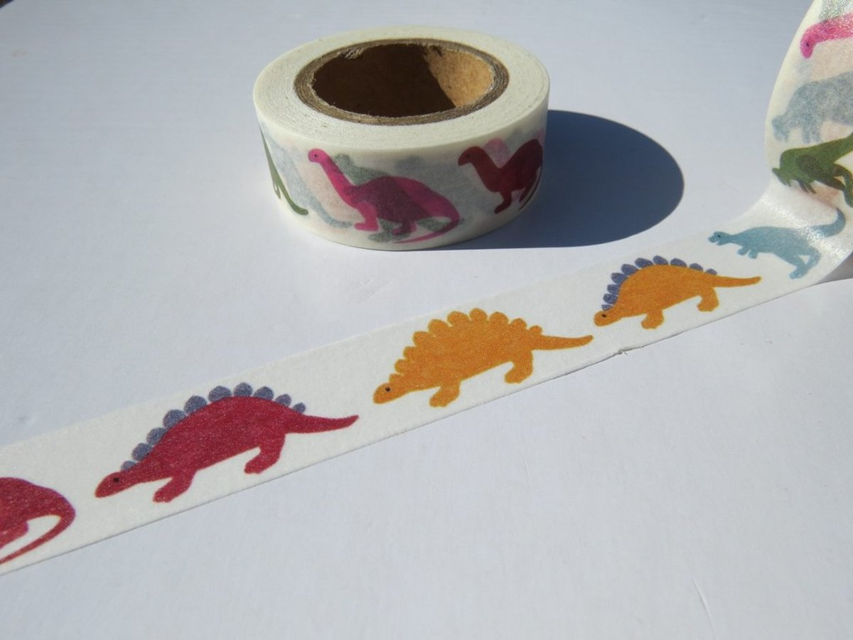masking tape Dino dinosaurus decoratie washi papier tape 15 mm x 10 m