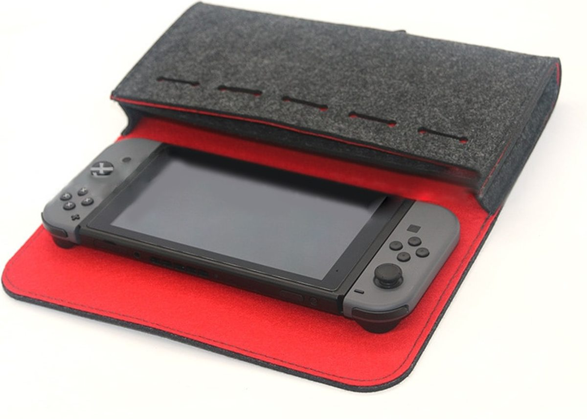 vilten Nintendo switch case - zwart/rood