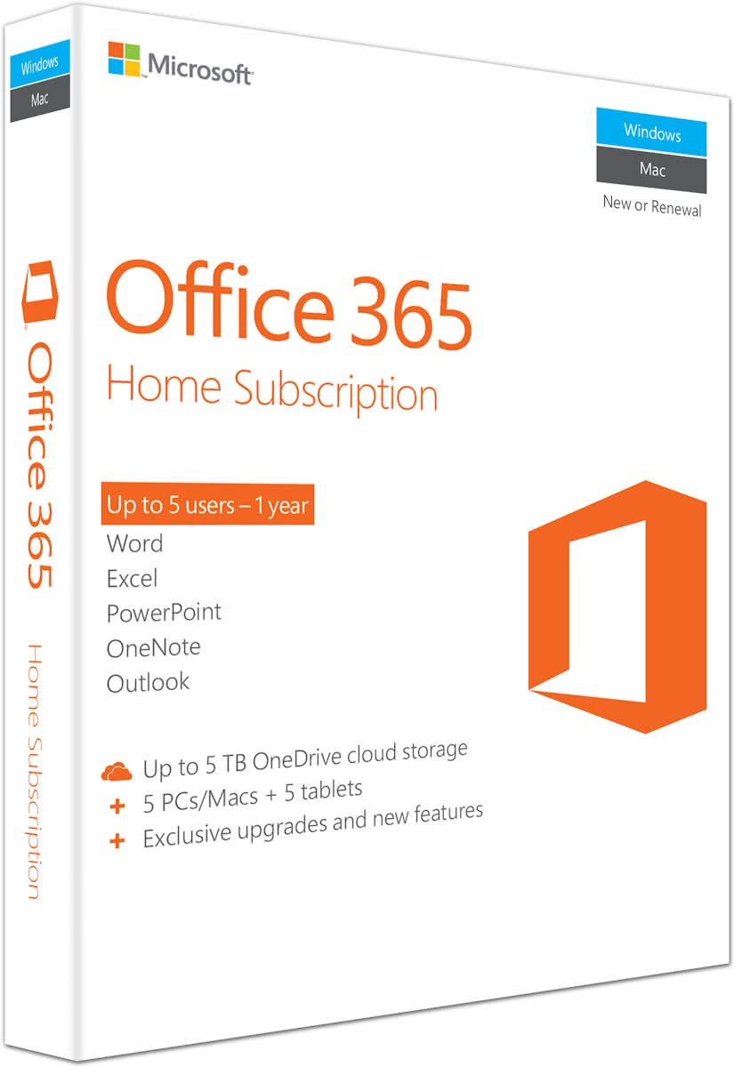 Microsoft Office 365 Home - 1 Jaar abonnement - Engels