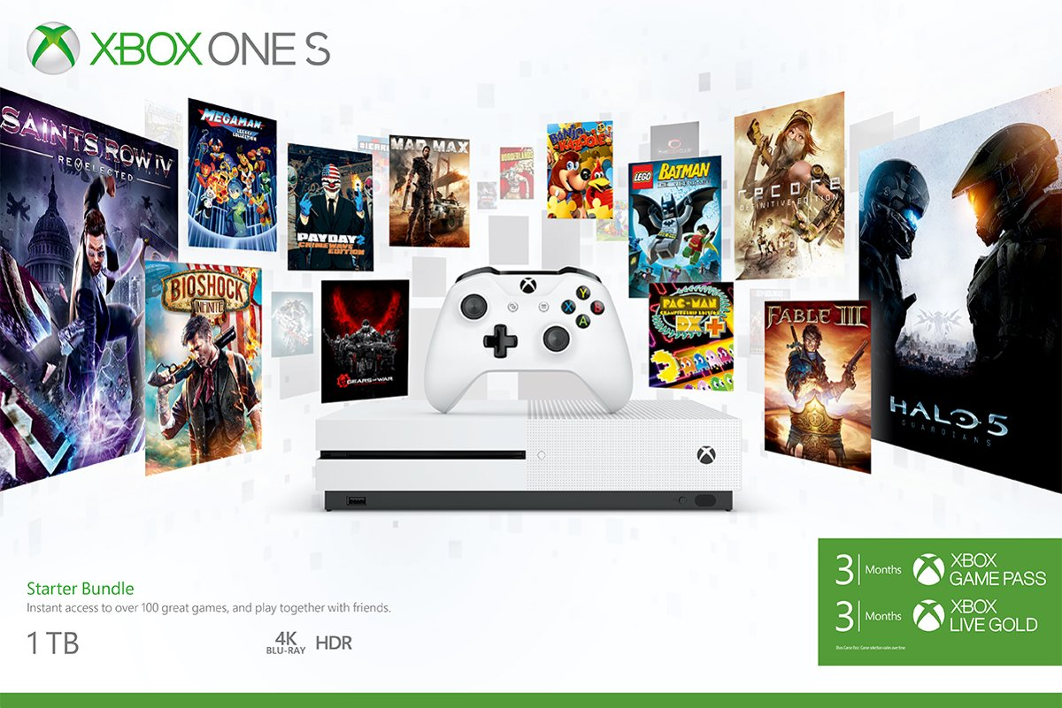 Xbox One S Console met 3 mnd Game Pass en 3 mnd Xbox Live - 1TB