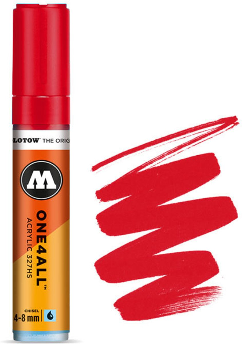 327HS Traffic Red - Rode acryl marker - Chisel tip 4-8mm - Kleur rood
