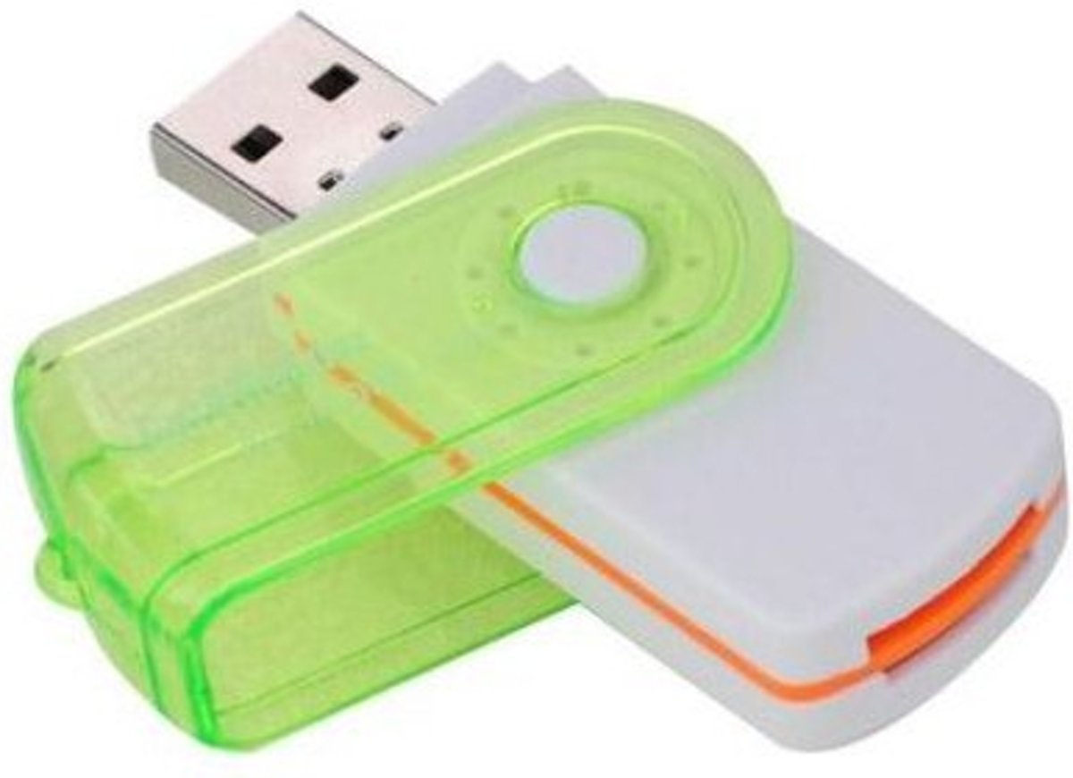 Multifunctionele USB Kaartlezer 4 in 1 USB 2.0 M2 SD SDHC SD TF Geheugenkaart Smart Reader - Groen