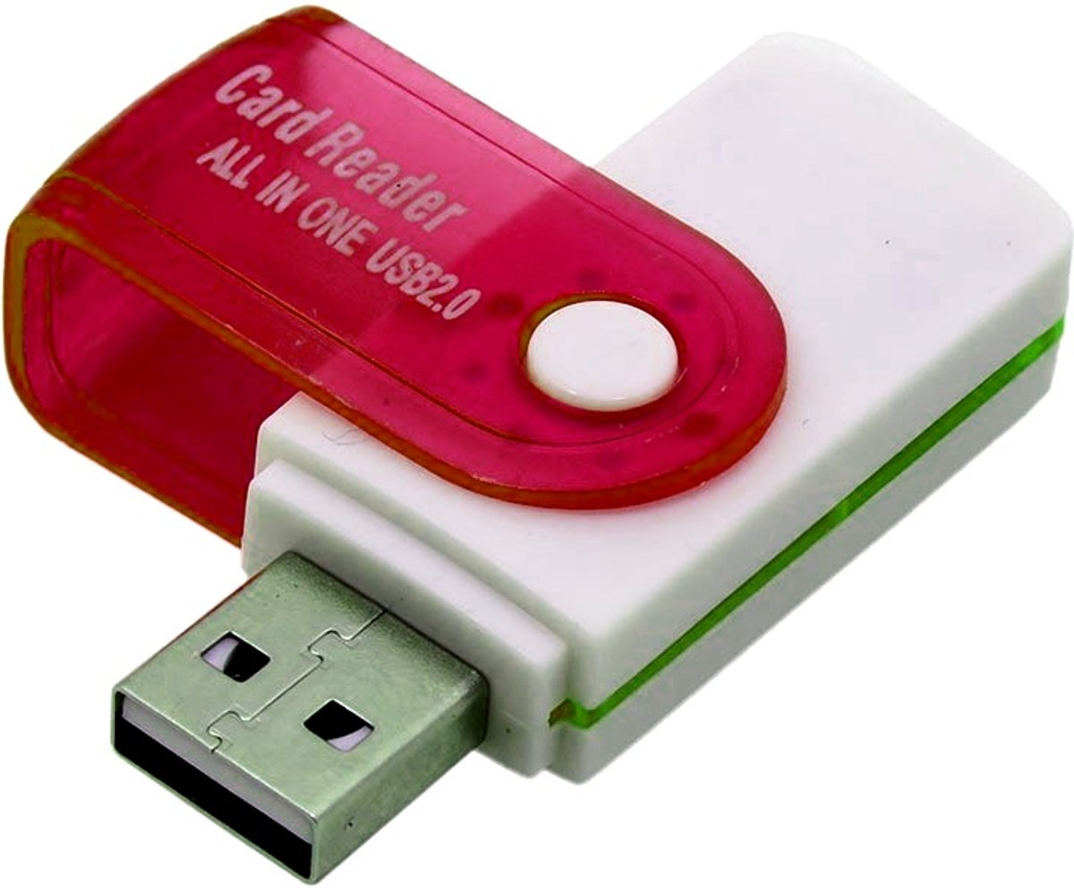Multifunctionele USB Kaartlezer 4 in 1 USB 2.0 M2 SD SDHC SD TF Geheugenkaart Smart Reader - Rood