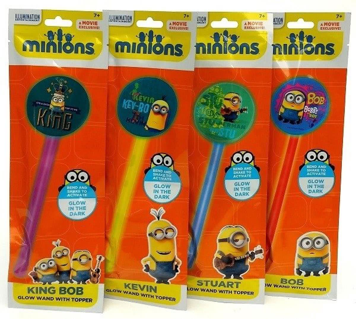 Minions Glow in the dark stick, 4 stuks