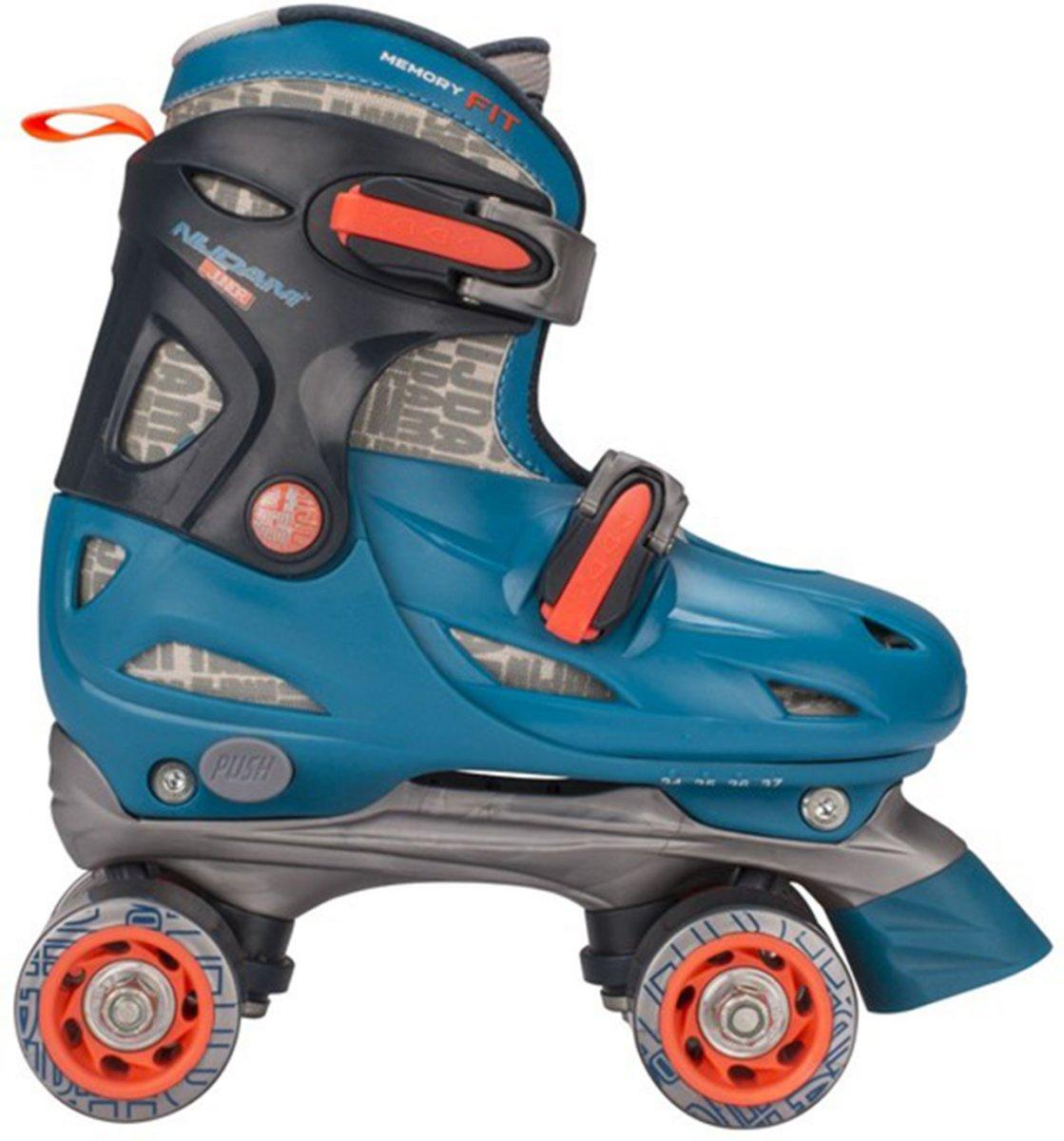 3f2b06bee93 Nijdam Junior Rolschaatsen Junior Verstelbaar Hardboot - Disco Twirl -  Turquoise/Antraciet/Fluororanje/