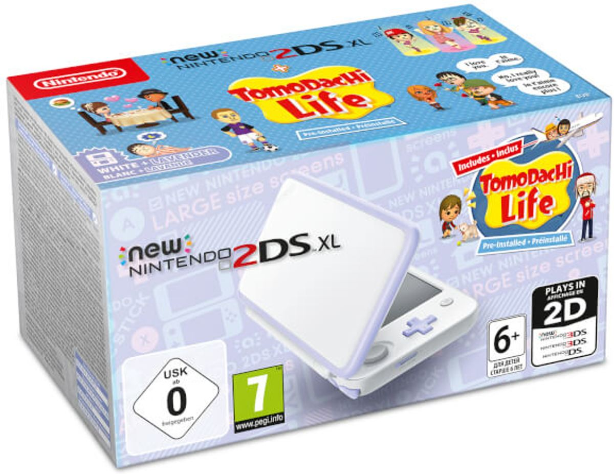 New Nintendo 2DS XL wit lavendel incl. Tomodachi Life