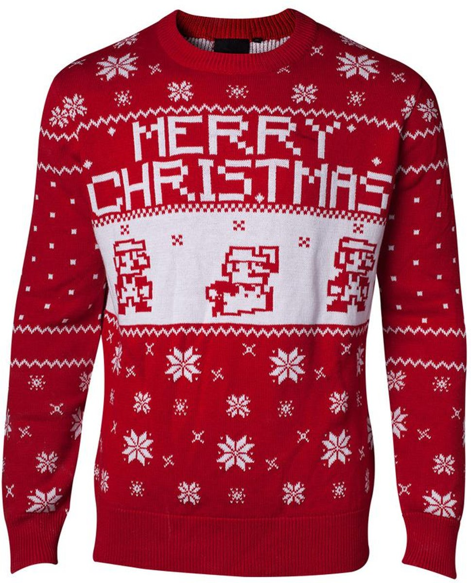 NINTENDO - Knitted Merry Christmas Sweater (L) Kerst trui