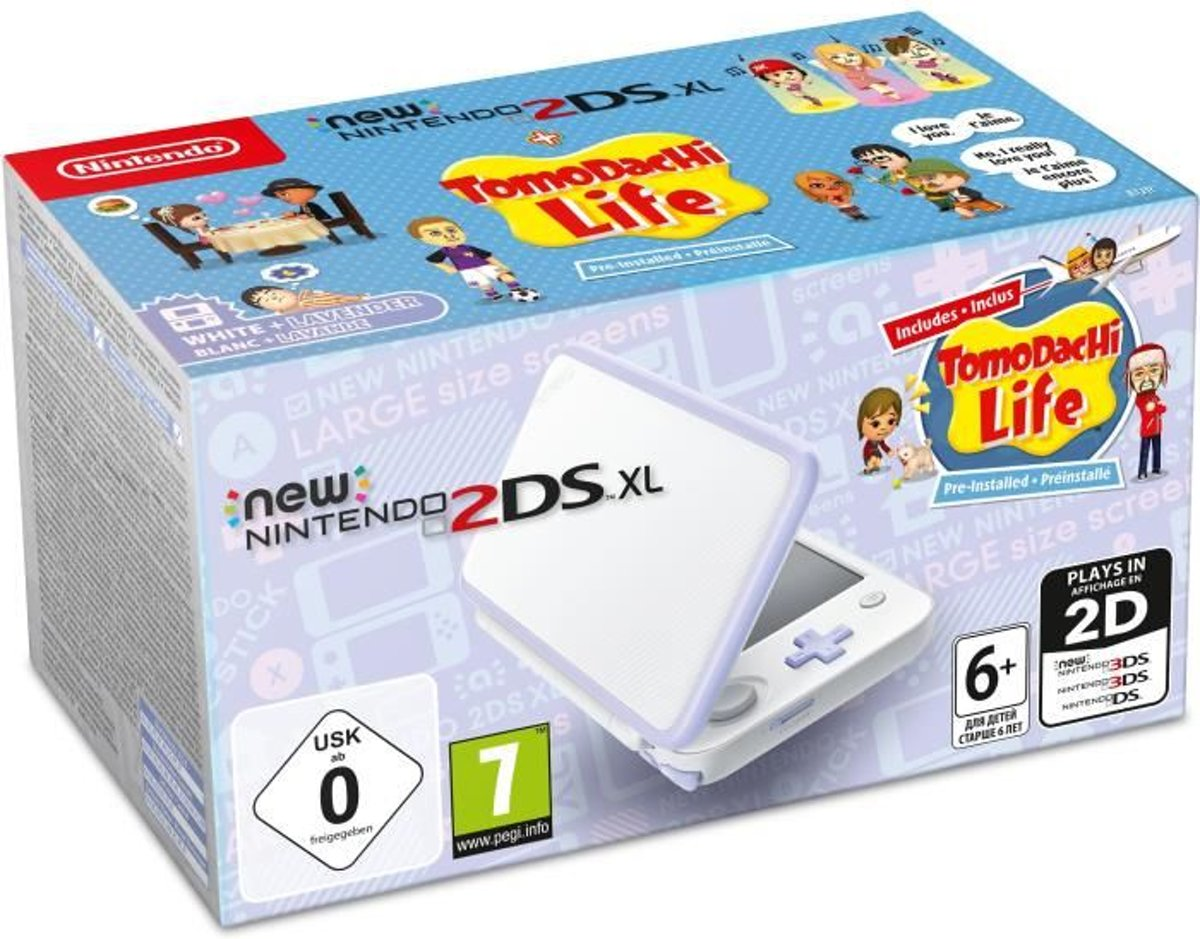 New   2DS XL, Console + Tomodachi Life (White / Lavender)