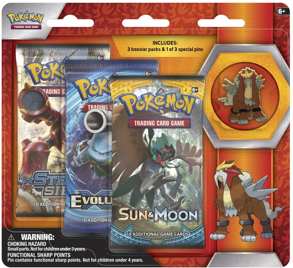 Pokemon Entei Collectors Pin 3-pack blister