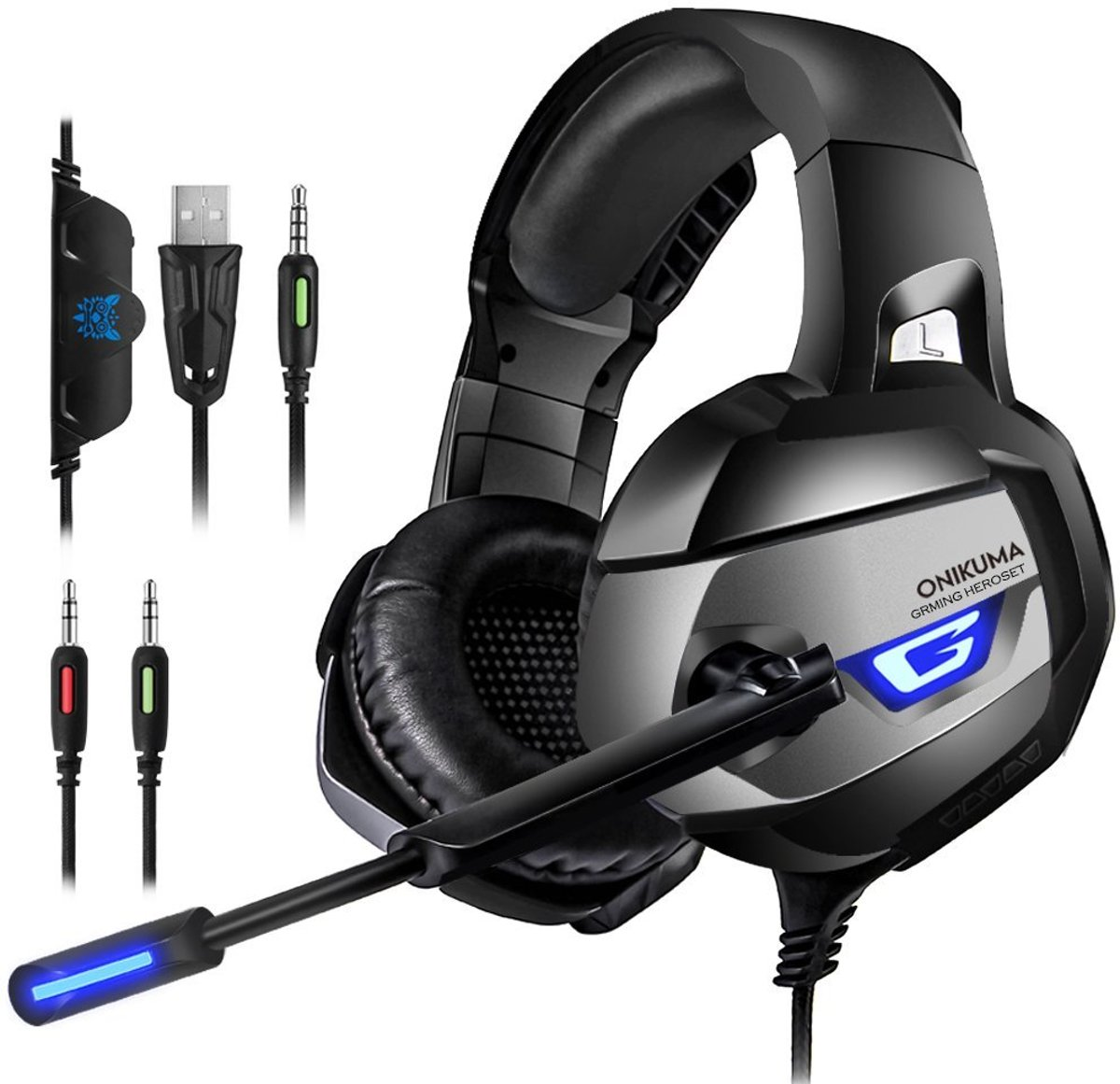 Gaming Headset voor PC, PS4, Xbox One met Microfoon – Gaming Koptelefoon Over Ear – Surround Sound met Kristalheldere Geluid + LED lichtjes + Noice Cancelling