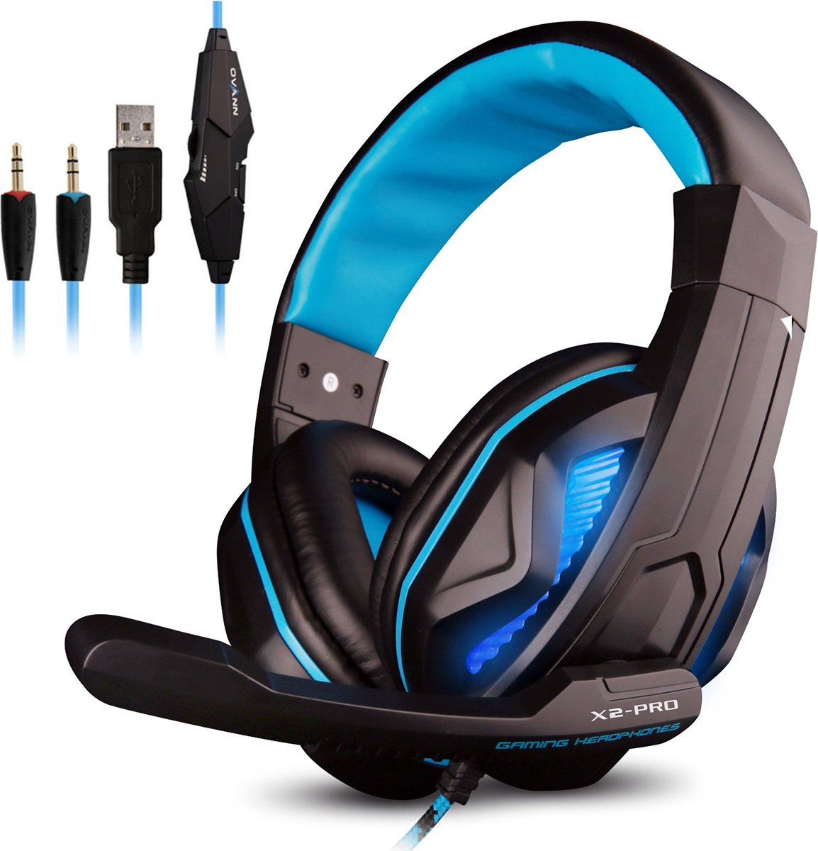 Ovan X2-Pro Over-ear Game Hoofdtelefoon Gaming Headset - Stereo Surround Koptelefoon met Microfoon, Ruisonderdrukking, Volumeregeling en LED verlichting - voor PC, Mac, iPad, Smartphones, PS4, Xbox One, Nintendo Switch, 3DS, etc.