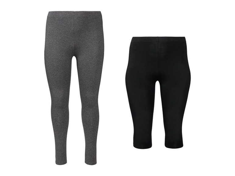 2 dames leggings plus size 3XL (56/58), Grijs capri/zwart