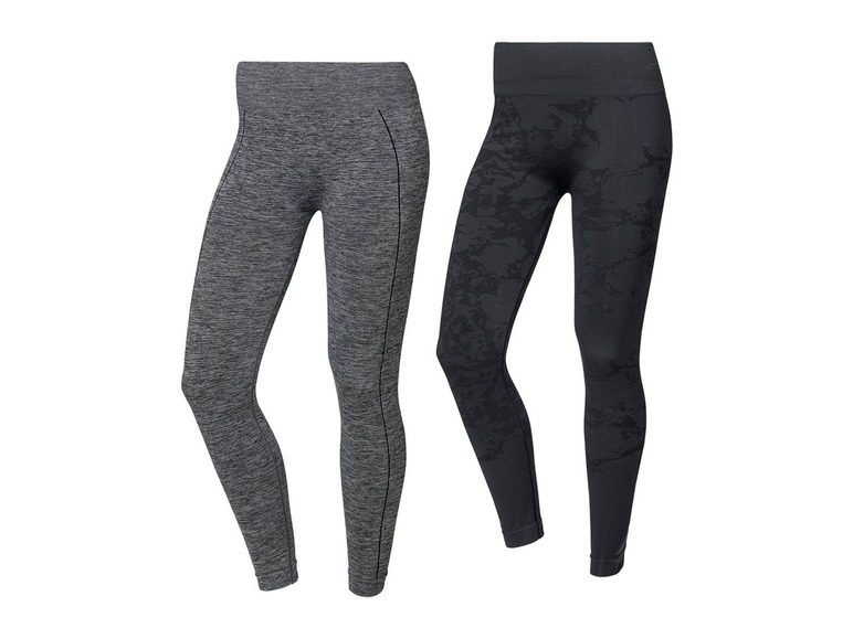 2 dames seamless sportleggings M (40/42), Zwart/grijs