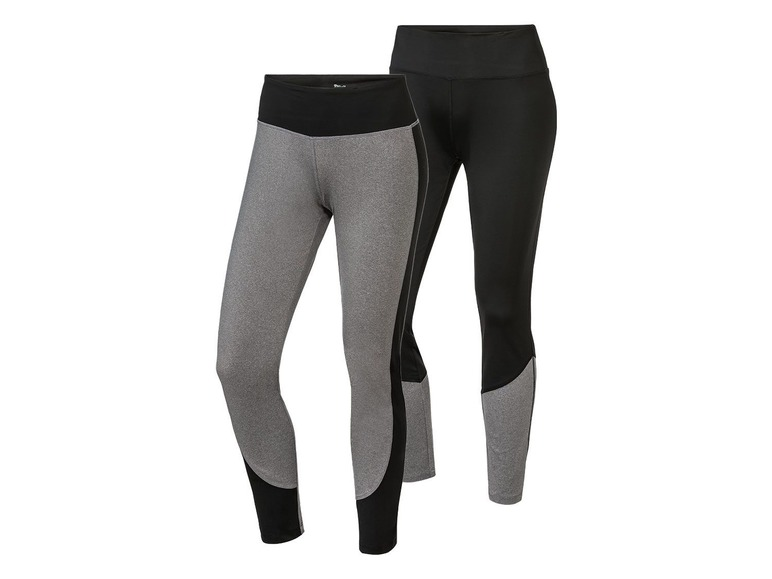 2 dames sportleggings L (44/46), Grijs/zwart