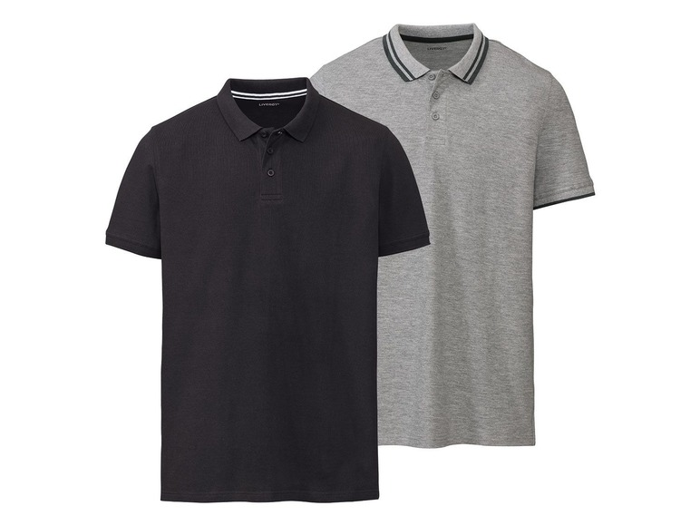 2 heren polo\s slim fit S (44/46), Zwart/antraciet