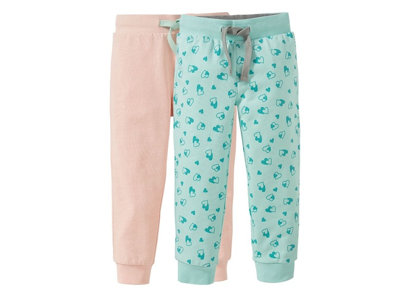 2 meisjes joggingbroeken 110/116, Lichtroze/mint all-over-print