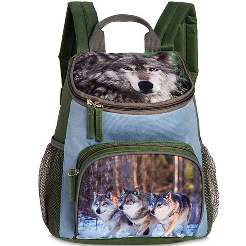 Animal Pictures rugzak wolf olijfgroen 30x26x8cm - polyester