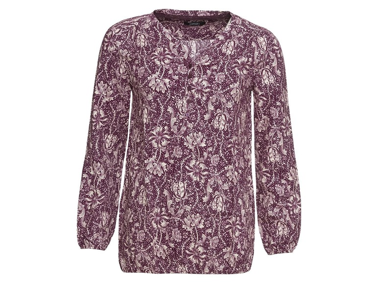 Dames blouseshirt 40, All-over-print/bordeauxrood