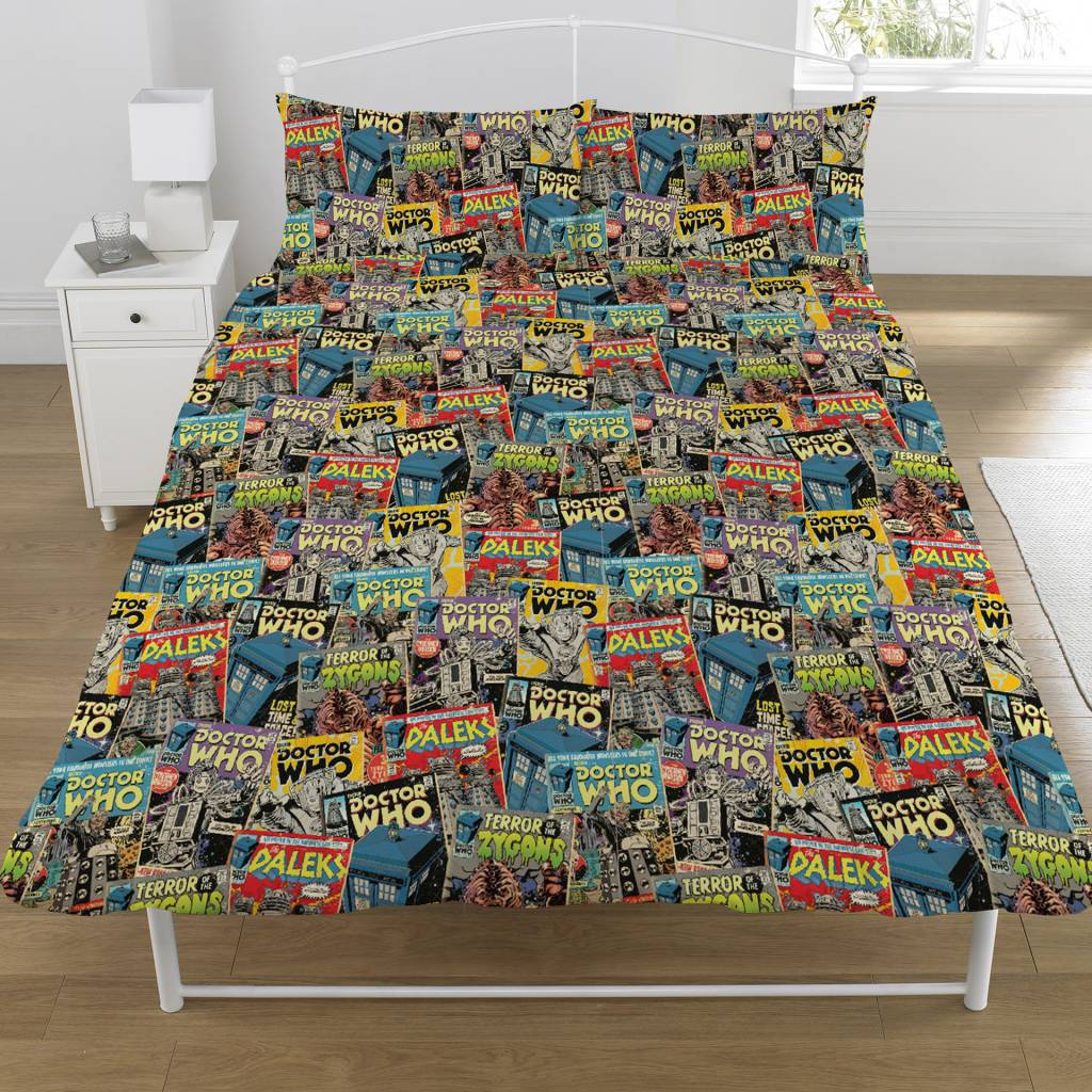 Doctor Who   Comics tweepersoons 200 x 200 cm + 2 kussenslopen 50 x 75 cm - Polycotton
