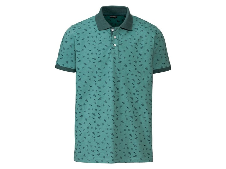 Heren polo slim fit M (48/50), All-over-print