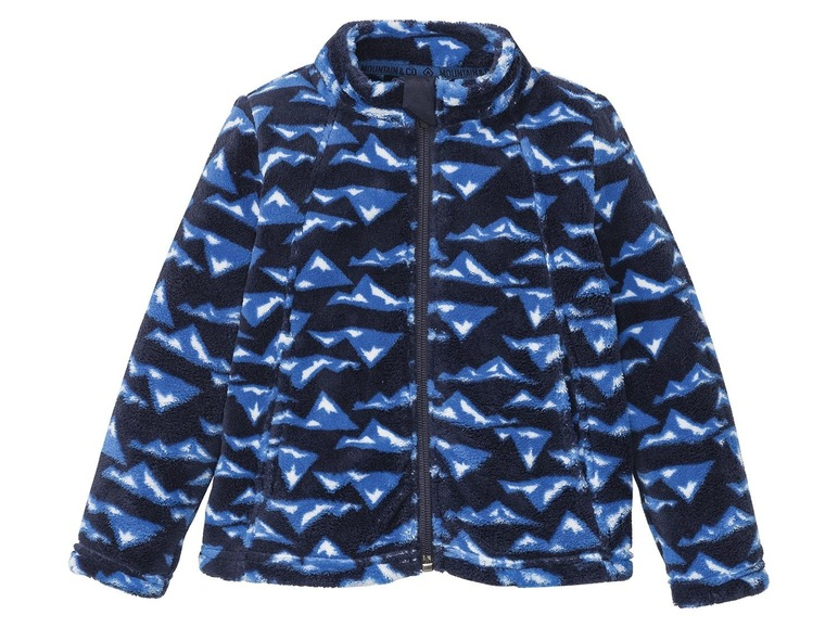 Jongens fleecejack 86/92, Donkerblauw all-over-print