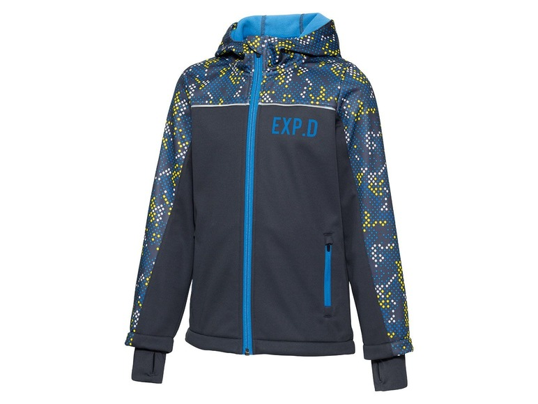 Jongens softshell jas 146/152, Antraciet all-over-print
