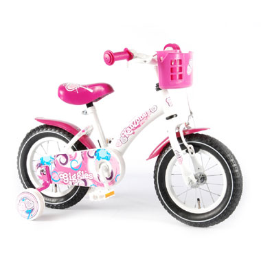 Kanzone Giggles fiets - 12 inch - wit/roze