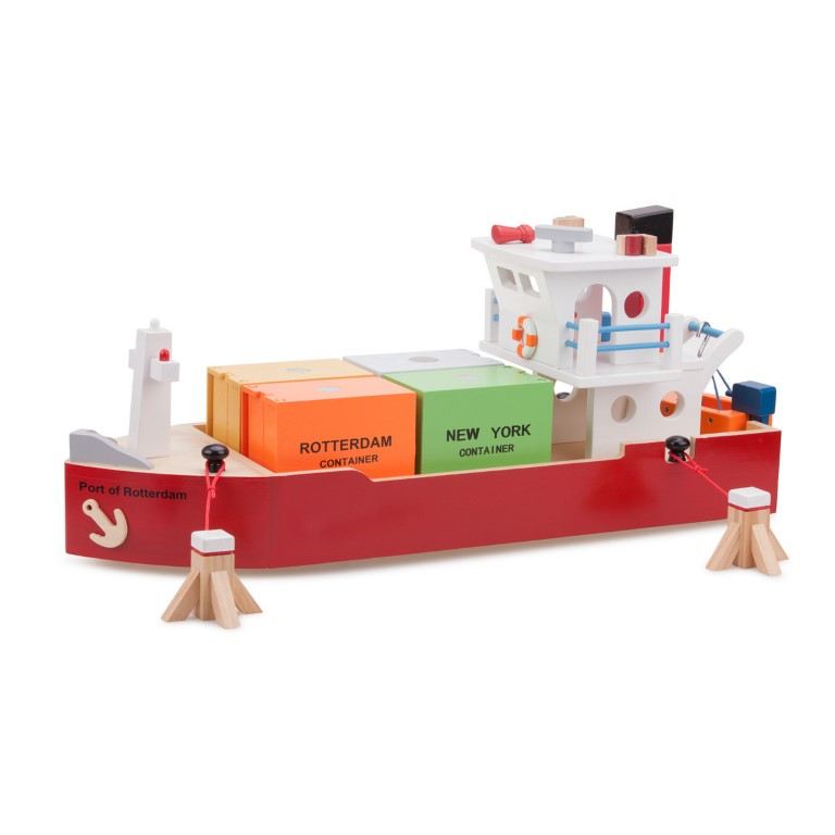 New Classic Toys Container Schip met 4 Containers
