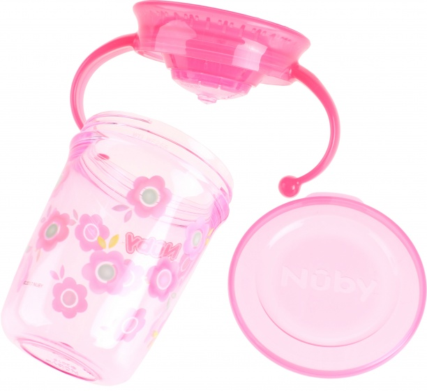 Nuby 360 wonderbeker 240 ml roze