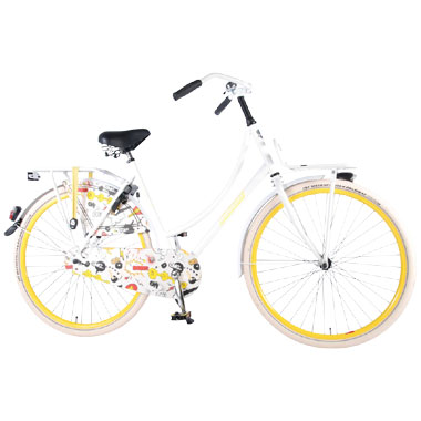 Salutoni Oma damesfiets Cartoon - 28 inch - wit en geel