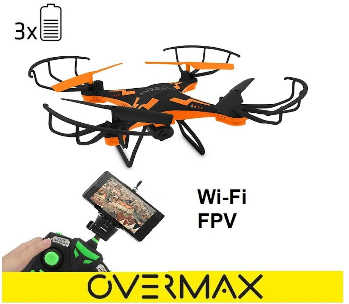 Overmax X-Bee Drone 3.1 zwart/oranje WiFi, Quadrocopter met 2MP camera. 6 axis, 3 accus 750mAh