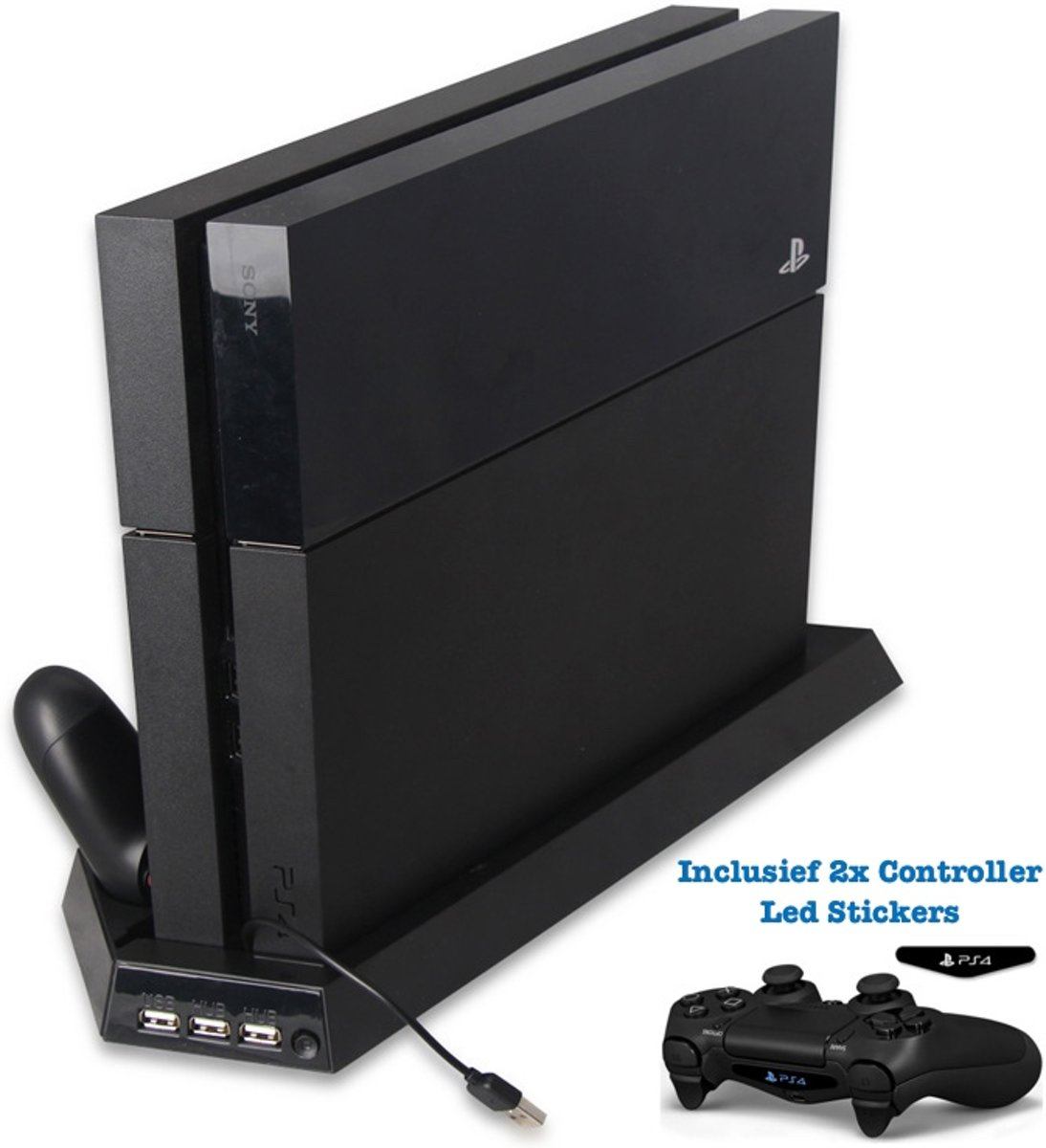Multifunctionele Standaard voor Playstation 4 of PS4 Slim - Oplaad station - PS4 Vertical Stand Docking Station – Oplader voor PS4 Controller - 3 USB - Ps4/Ps4 slim
