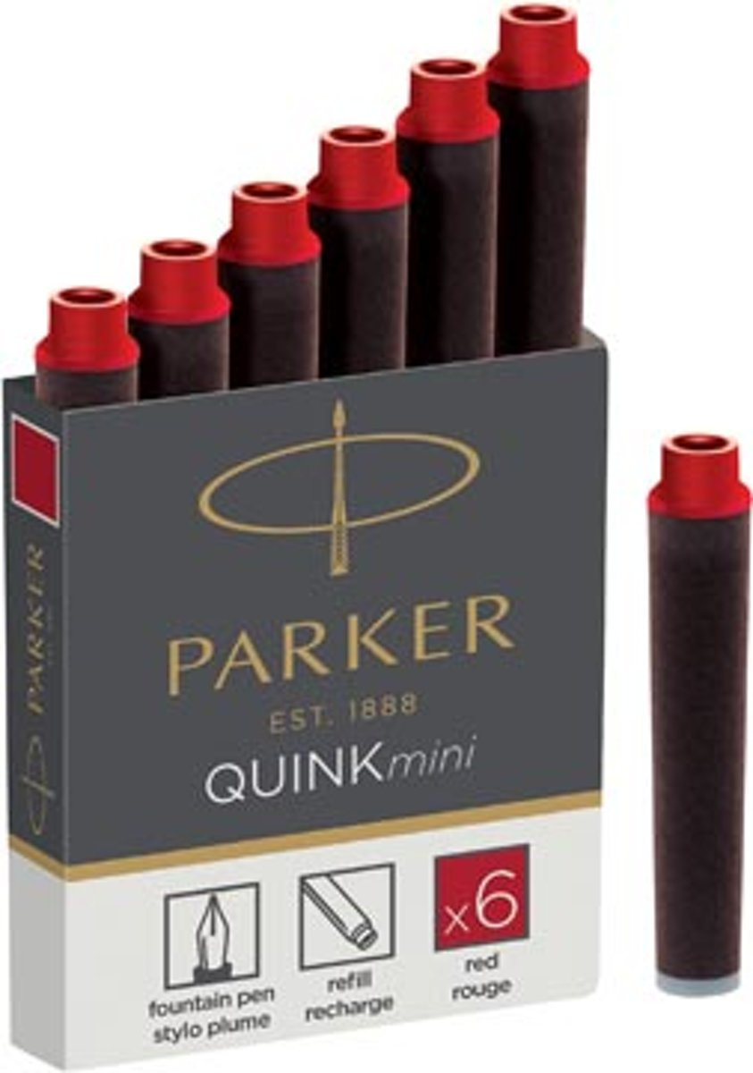 QUINK INK CARTRIDGES MINI RED (6)