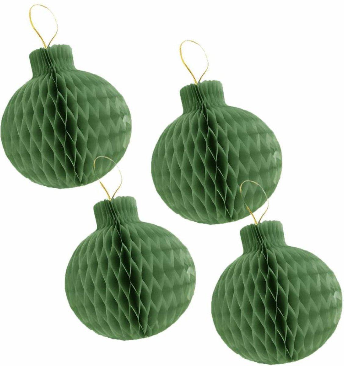 ae7f44a4709cff Honeycomb Kerstballen Groen 8cm 4 stuks