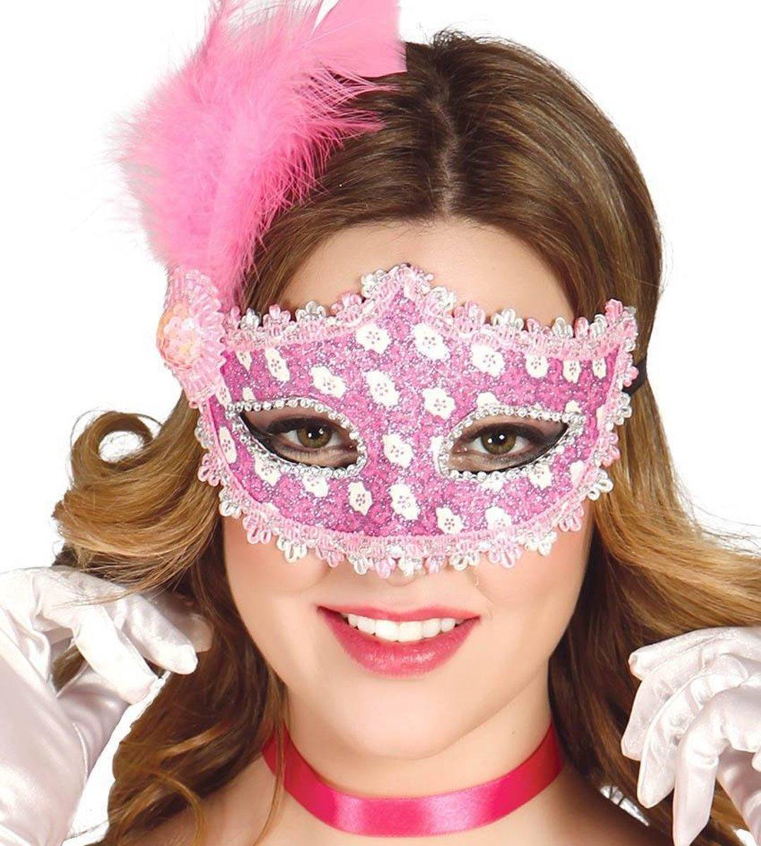 8f1075ac38e0c5 Roze Masker met Veren