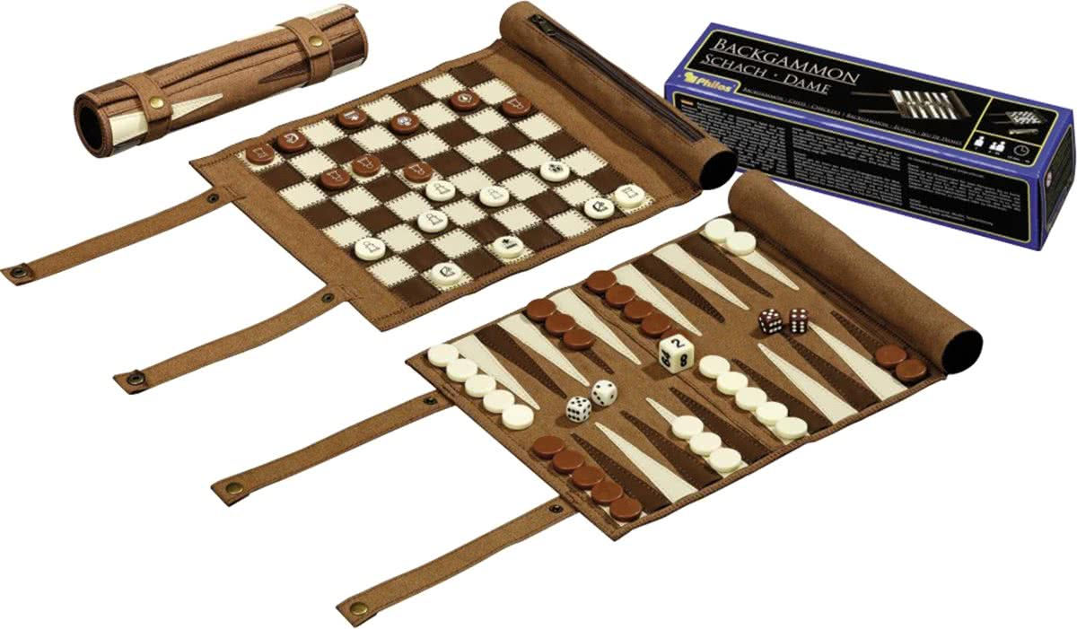Philos backgammon/schaak/dam set - oprolbaar - reisset
