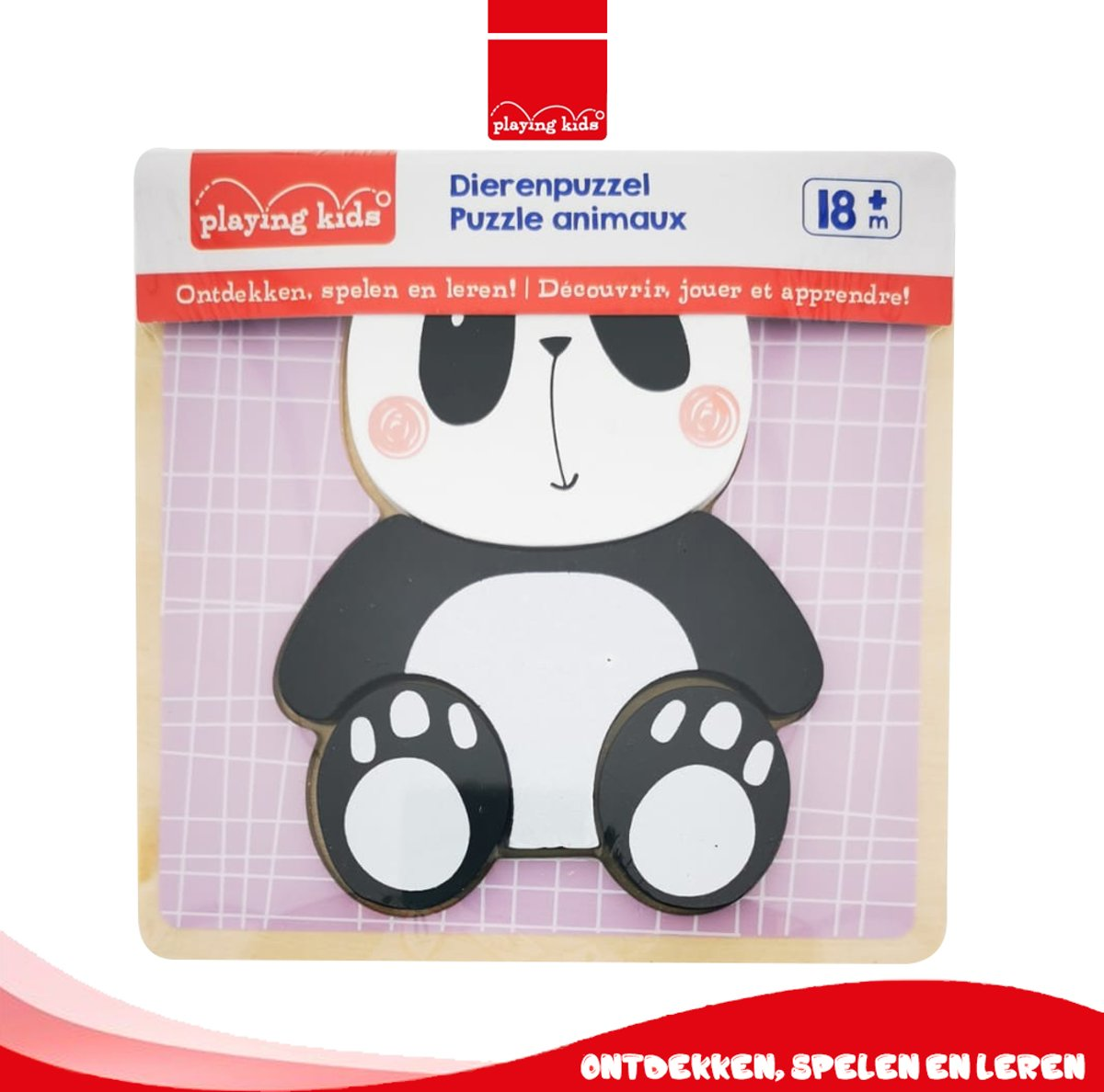 Playing Kids 18m+ Kindveilig Houten Legpuzzel - Panda