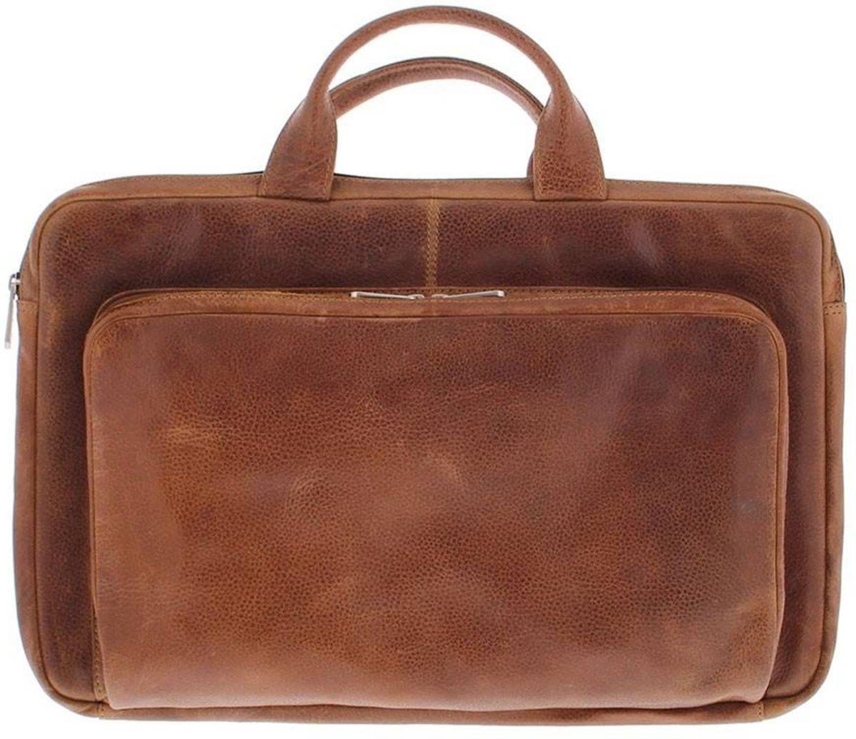 648e87df30a Laptop Sleeve Volnerf rundleer 17.3 Inch met organizer voorvak Cognac 495-3  Cognac