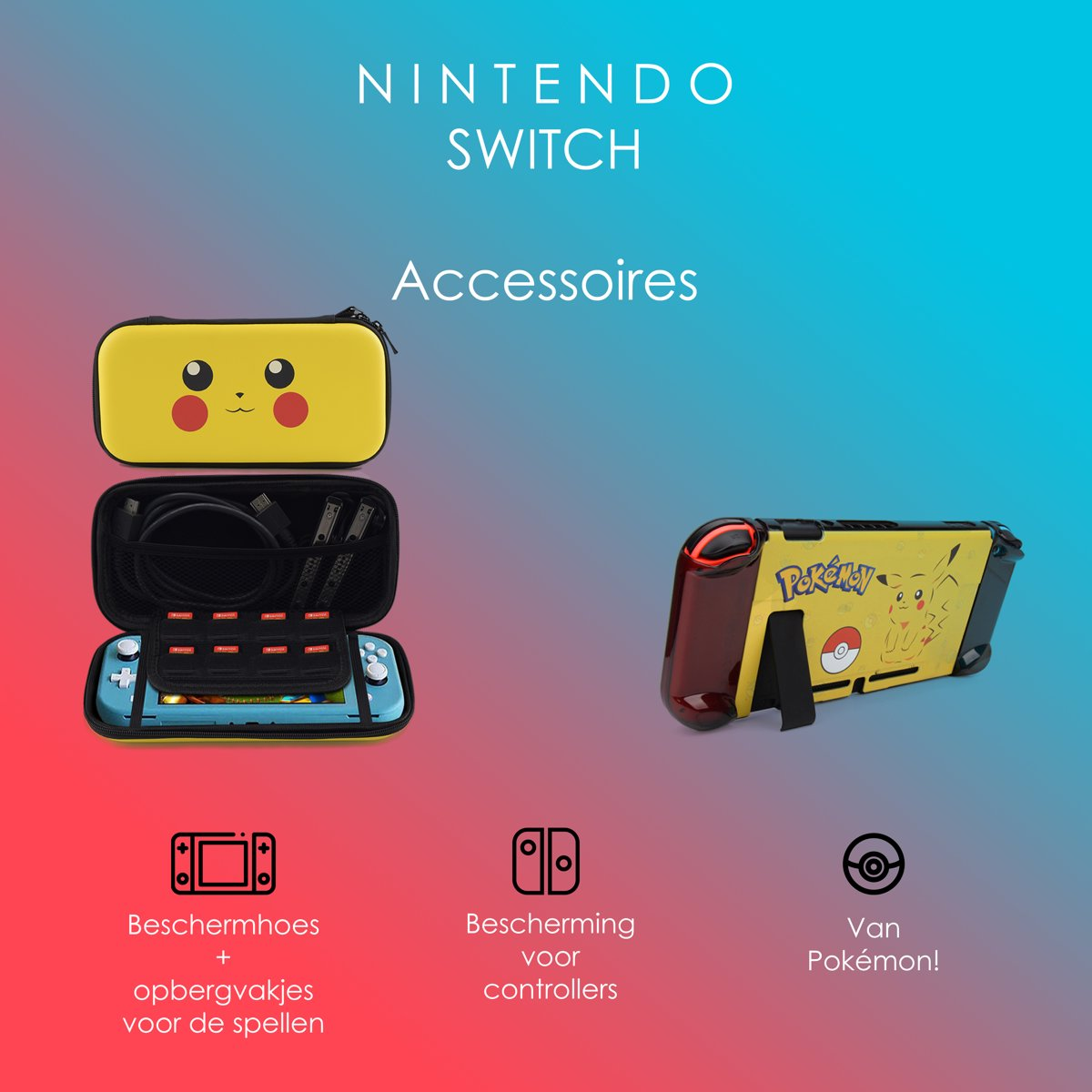 Nintedo Switch Accessoires – Nintendo Switch Case – Nintendo Switch Hoes – Pikachu