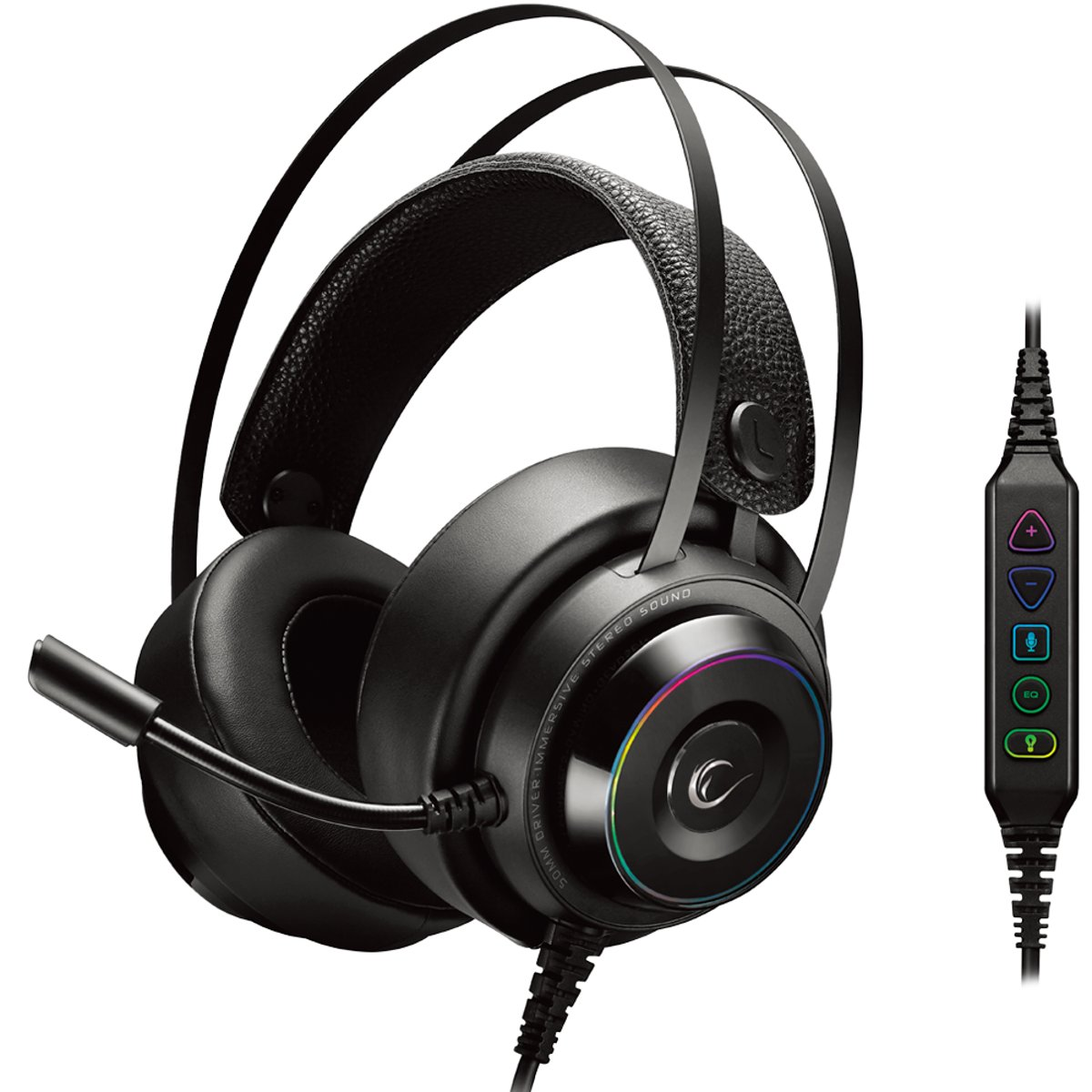 Ultimate 7.1 RGB gaming headset RG-X19 - Surround Sound - PC