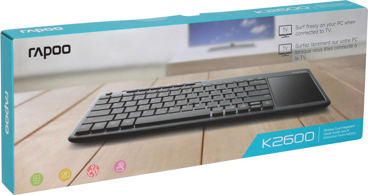 K2600 Draadloos Multimedia  Touchpad Toetsenbord  voor TV, PC - Multimediatoetsen